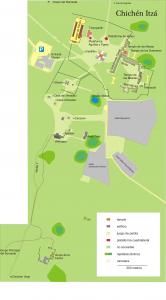Plano de la zona central del yacimiento arqueológico de Chichén Itzá.