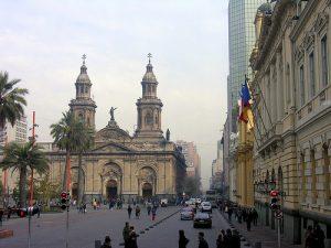 Vista de la catedral Santiago de Chile