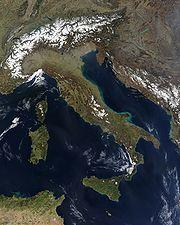 Italia, vista satelital