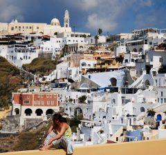 Vista panorámica de la Isla Santorini en Grecia.