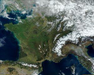 Mapa de Francia, imagen satelital