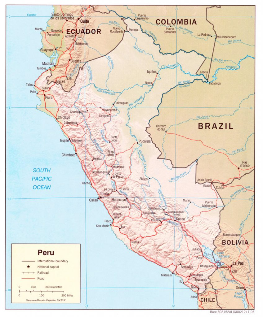 Mapa de Perú con relieve