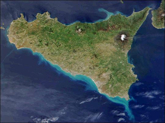 Sicilia, Etna imagen satelital