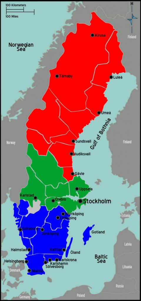 Suecia mapa regiones