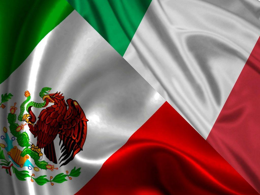 banderas unidas – Italia y México
