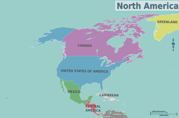 Mapa de América del Norte