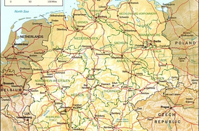 Mapa de Alemania con relieve