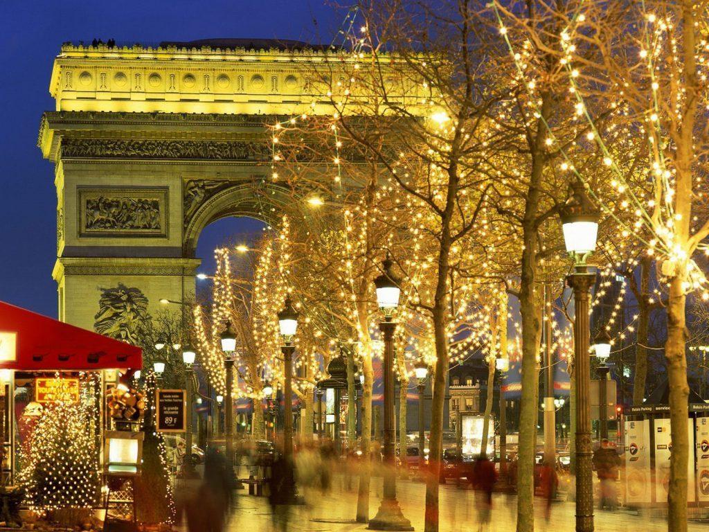 Arco del Triunfo en navidad, Francia