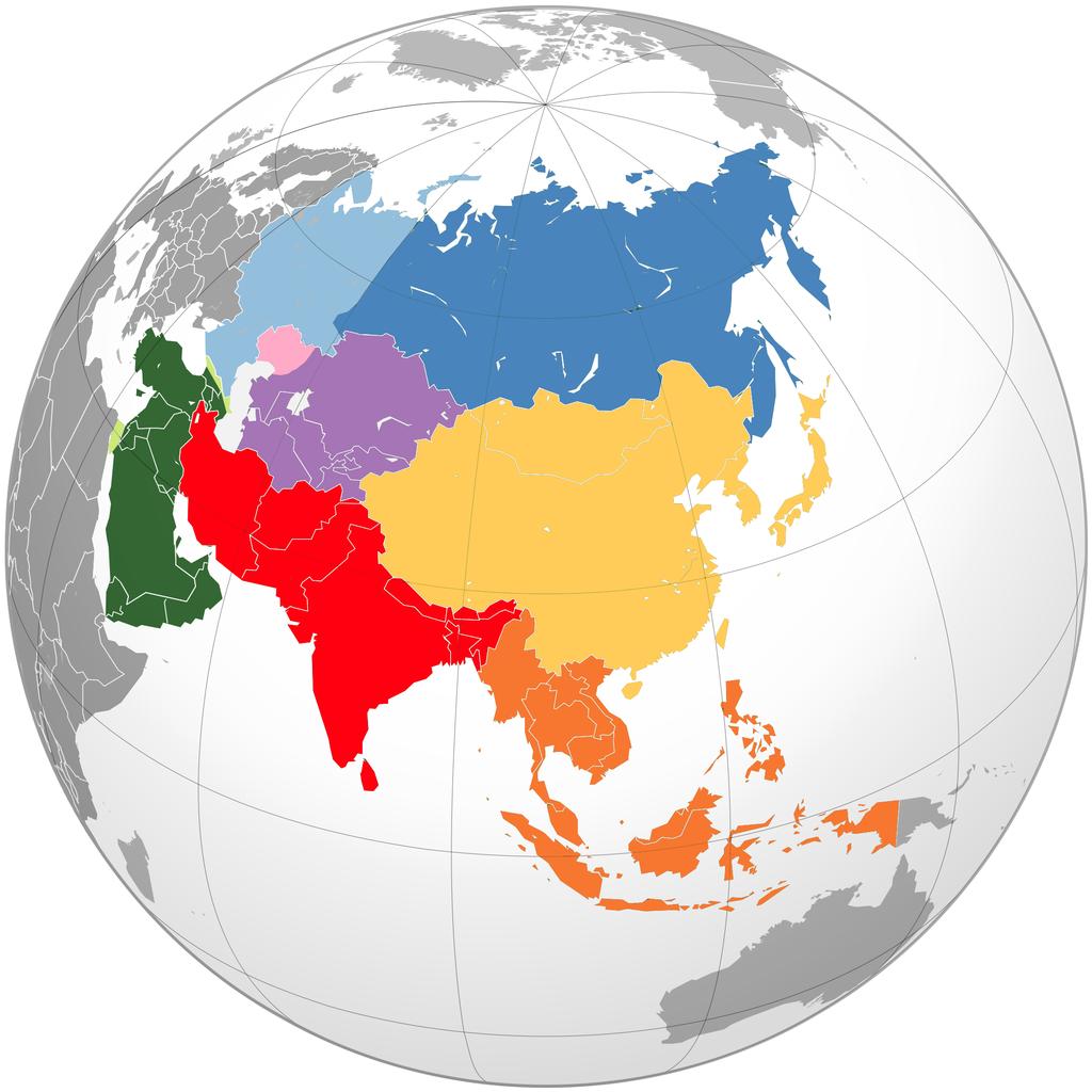 Mapa de las subregiones de Asia