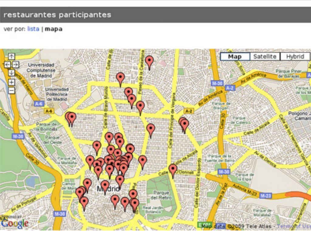 Mapa de restaurantes en Madrid