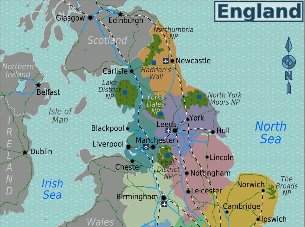 Ciudades De Inglaterra Mapa.Mapa De Inglaterra Turismo Org