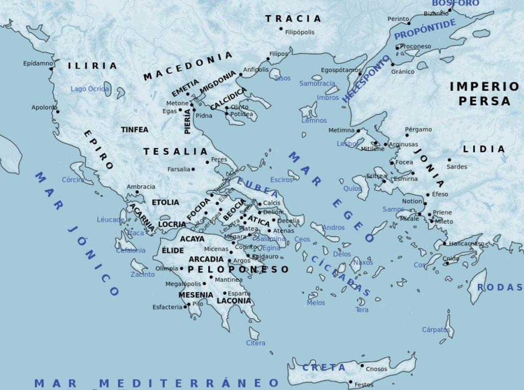 Mapa antiguo de Grecia