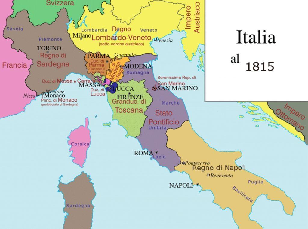 Mapa de Italia en 1815