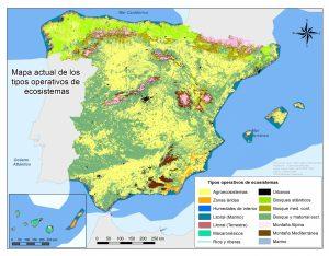 Mapa de ecosistemas de España.