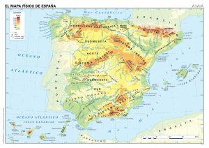 Mapa físico de España.