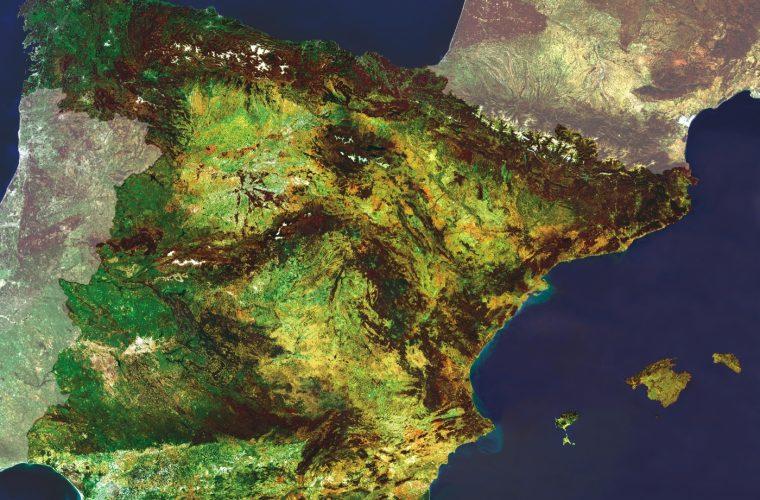 Mapa satelital de España.