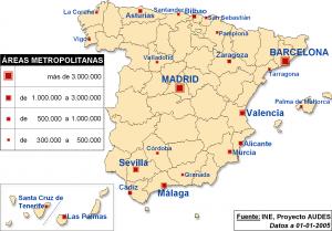 Mapa urbano de España.
