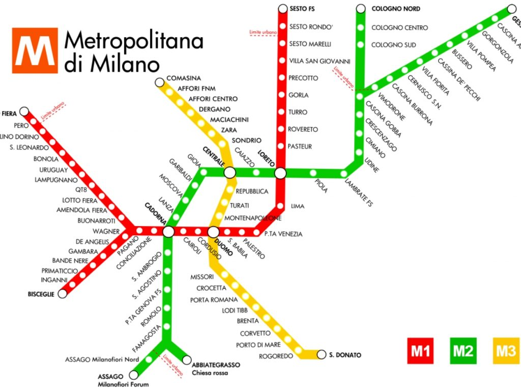 Mapa Metropolitano de Milano