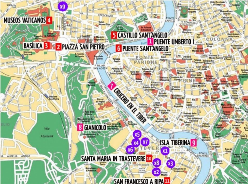 Mapa de monumentos en Roma
