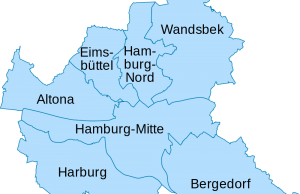 Mapa de los distritos de Hamburgo