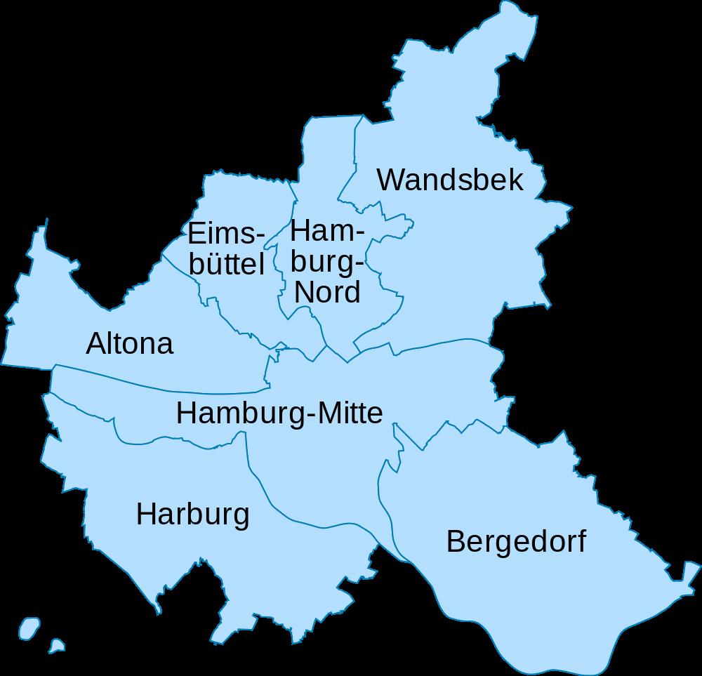 Mapa de los distritos de Hamburgo