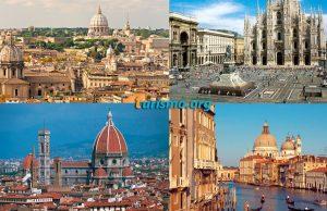 Izquierda superior: Roma, Izquierda inferior: Florencia ; Derecha superior: Milán, Derecha inferior: Venecia