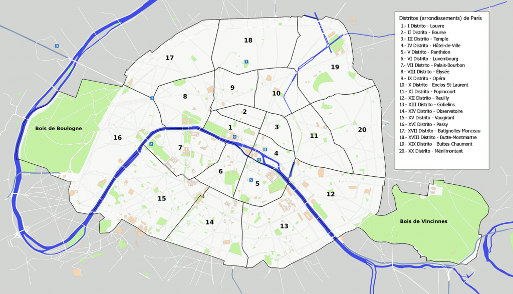 Mapa de Distritos de Paris