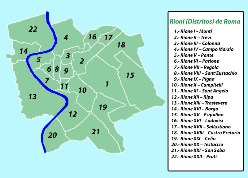 Mapa Rioni Roma