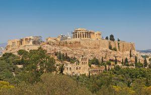 Vista panorámica de Acŕopolis de Atenas.