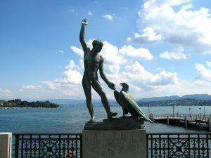 Estatua Ganymed en Zúrich.