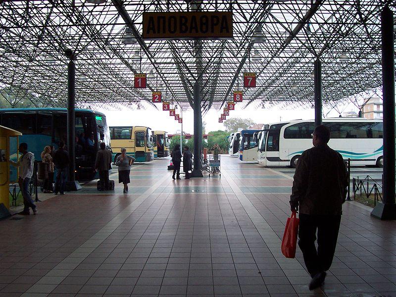 Terminal de autobuses en Grecia