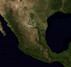 Mapa satelital de México.