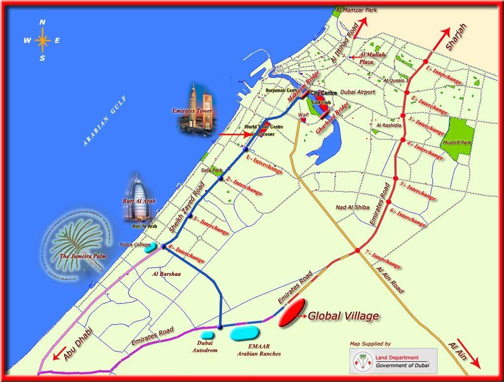 mapa de dubai Mapa de Dubái   mapa de lugares y zonas turísticas mapa de dubai